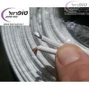 """כבל רמקול 2  חוטים קוטר 2.5 מ""""מ לבן / שקוף במטר רץ או גליל"""