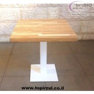"""שולחן פלטת עץ אלון בוצ'ר מלא 70*70*4.5 ס""""מ עם רגל מרכזית מרובעת לבנה / שחורה"""
