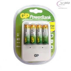 מארז 4 סוללות נטענות מידה AA קיבולת 2700 mah כולל מטען AA/AAA תוצרת GP
