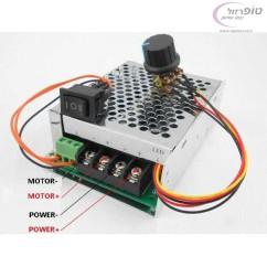 בקר מהירות למנוע 12/24/36/48V   DC  בזרם עד 40 אמפר כולל מפסק הופך קוטביות לשינוי כיוון המנוע.