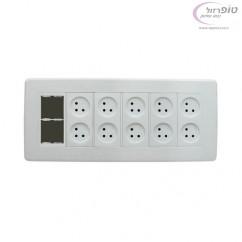 קופסת אופיס - עמדת עבודה - ניסקו 12  מודול. 10 חשמל + מתאם גביס . תחת הטיח.