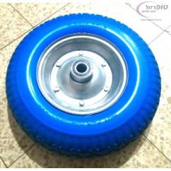 """גלגל פוליאורתן מוקצף ג'נט פח קוטר 16"""" (40.5 ס""""מ) רוחב 10 ס""""מ לציר 20 או 25 מ""""מ. משקל מקסימום 180 ק""""ג"""