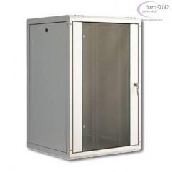 """ארון תקשורת 19"""" מידה 20U עומק 45/60/80 ס""""מ + דלת זכוכית + מנעול"""