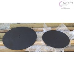 """בסיס פלטה ברזל עגולה קוטר 40 או 50 ס""""מ עם 3 חורים במרכז"""