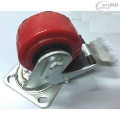 גלגל אדום עם פלטה מסתובבת. עם או ללא מעצור למשקל כבד מאוד