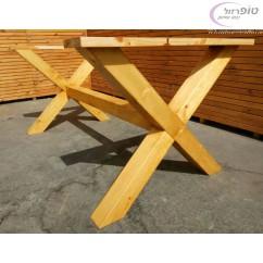 רגל שולחן מעץ אורן בצורת X