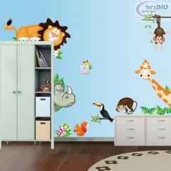 סט מדבקות קישוט מדליק לחדר ילדים כולל פיל אריה קוף ג'ירף ועוד