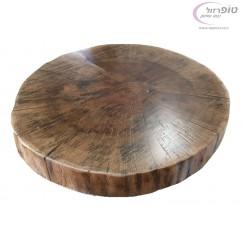 """פרוסת גזע עץ אלון עגולה כולל לכה אקרילית. מבחר מידות .קוטר 40 - 60 ס""""מ. עובי כ 4 סמ"""