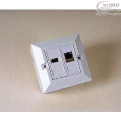 שקע רשת משולב עם שקע טלפון מעל או מתחת לטייח